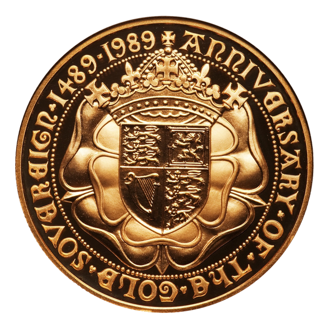 1989 Tudor Rose Gold Proof Full Sovereign coa