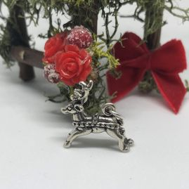 Reindeer charm with harness Sterling Silver for Christmas or children's occasion