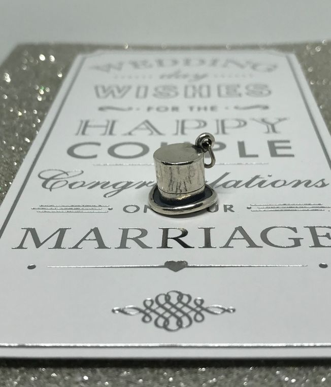 Top Hat Charm in Sterling Silver for wedding and Engagement