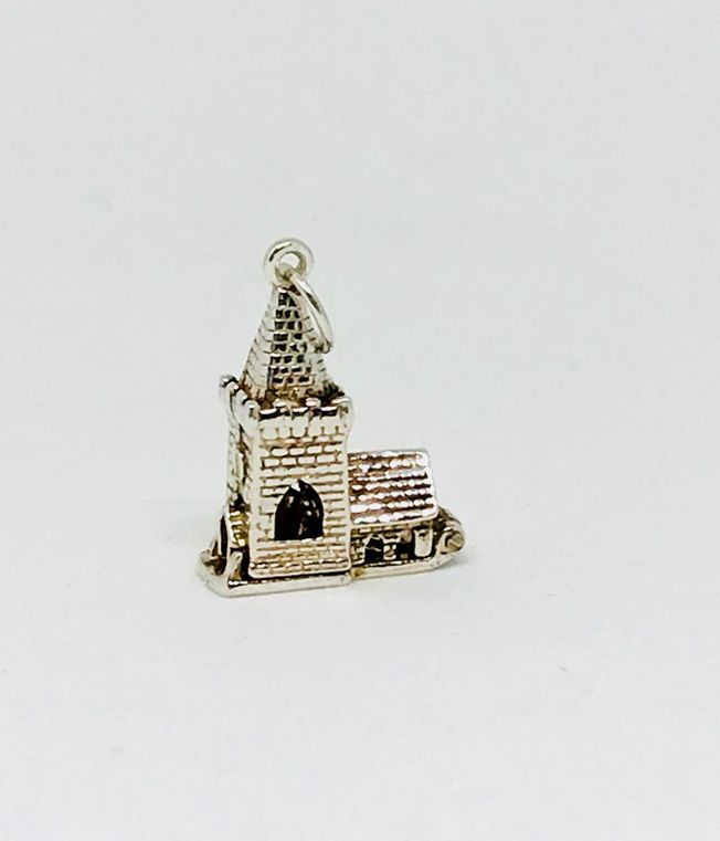 Church charm for New baby and Christening Silver in Sterling Silver